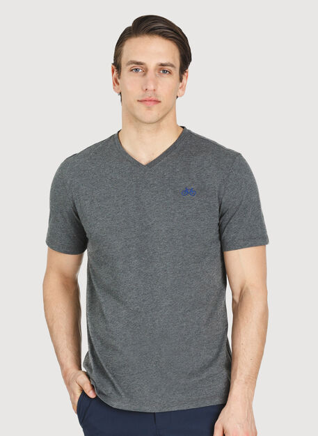 Motion V-Neck Tee, Heather Charcoal | Kit and Ace