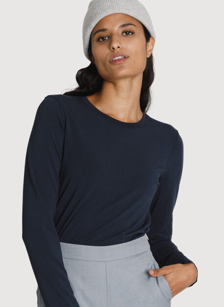 Stretch Pima Long Sleeve Crew, DK Navy | Kit and Ace