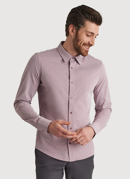 City Tech Long Sleeve Shirt, Sangria Chambray | Kit and Ace