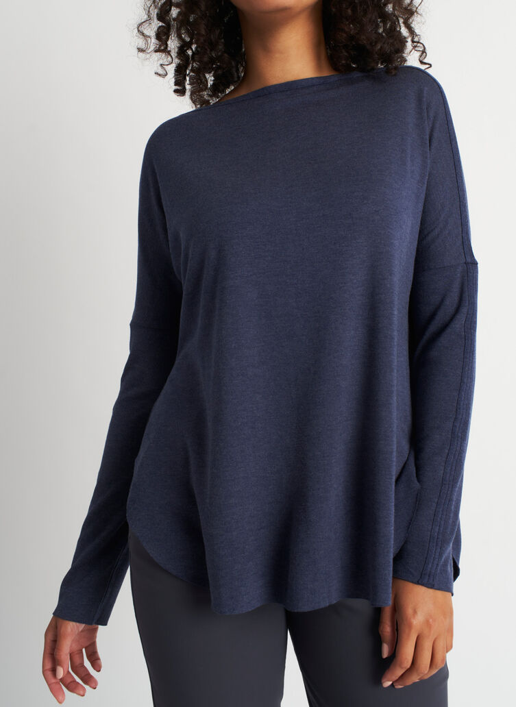 Burrow Pullover, Heather Dark Navy | Kit and Ace