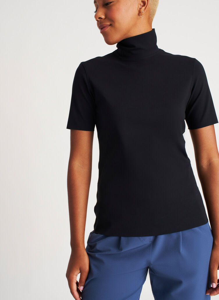 The Base Short Sleeve Turtleneck, Black | Kit and Ace
