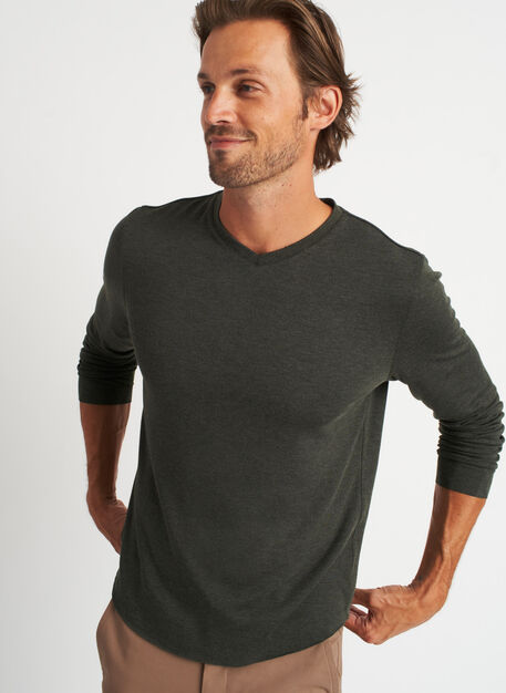 The B.F.T. Long Sleeve V-Neck Tee, Heather Cedar | Kit and Ace