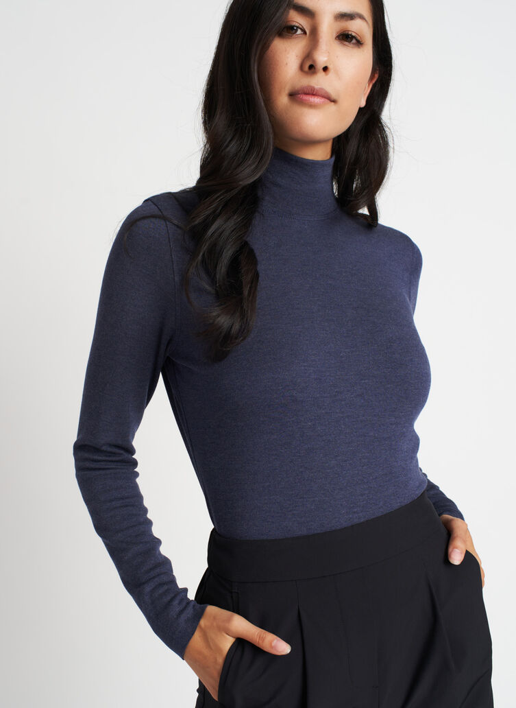 Upgrade Brushed Turtleneck, Heather Dark Navy | Kit and Ace