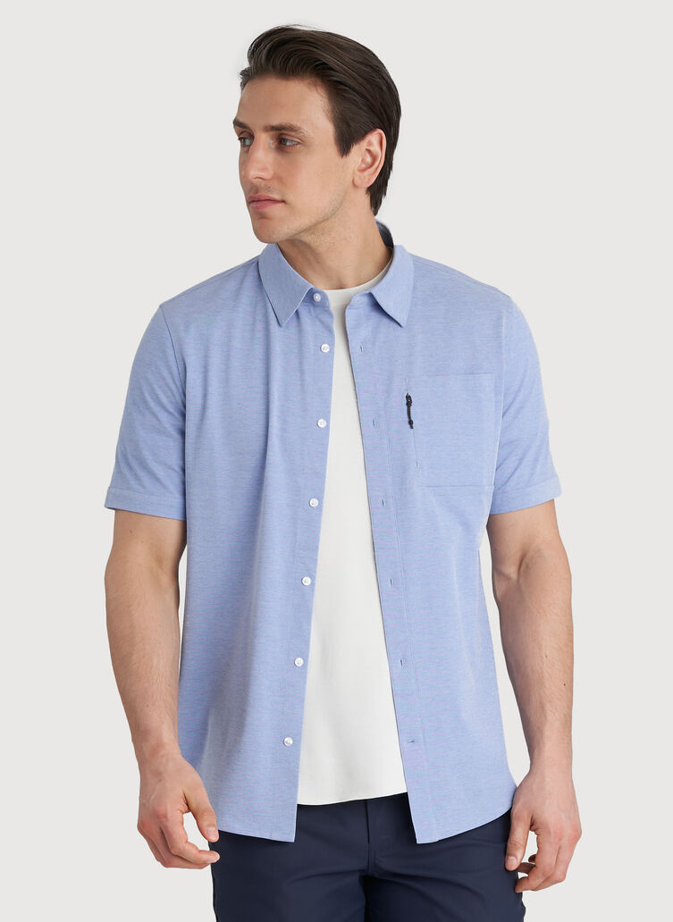 Geared Up Short Sleeve Shirt, Ocean Chambray | Kit and Ace