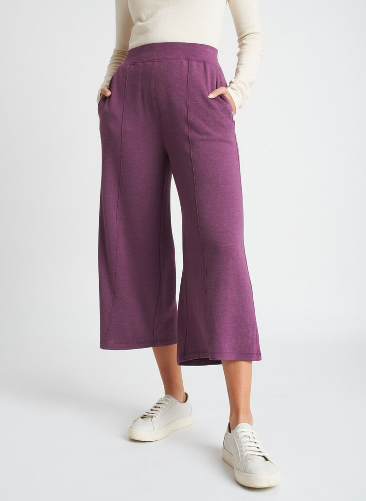 Brushed Lounge Cropped Pants, Heather Plum | Kit and Ace