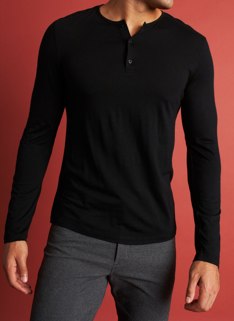 Merino Henley Tee, Black | Kit and Ace