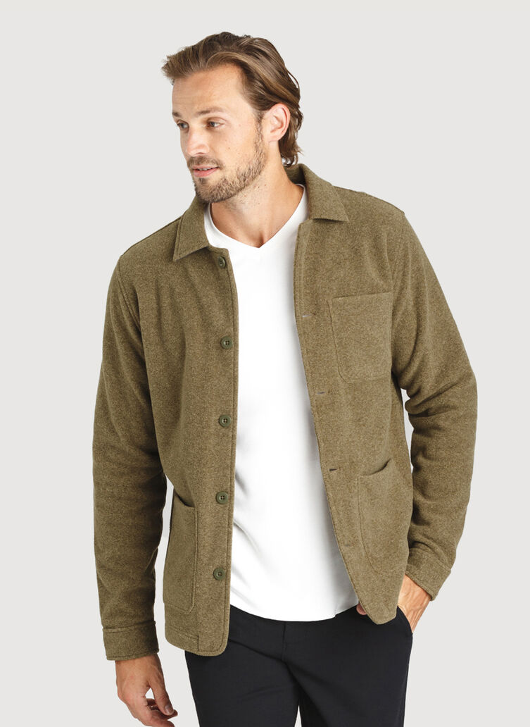 Snug Fleece Shirt Jacket, Heather Moss | Kit and Ace