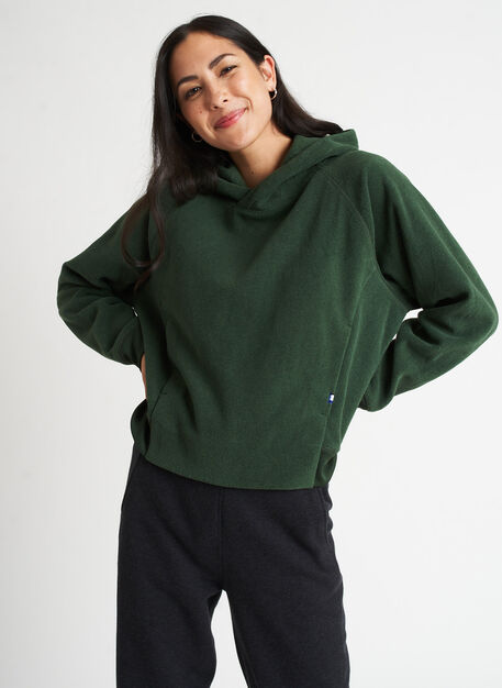 Hygge Fleece Pullover Hoodie, Heather Forest | Kit and Ace