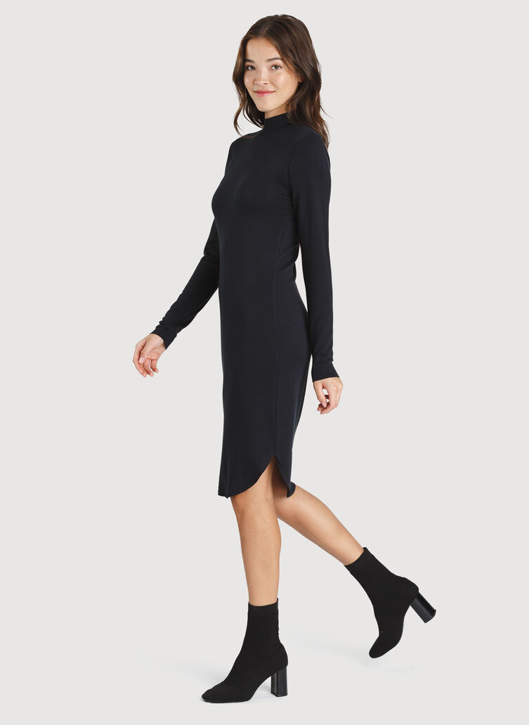 Good Feels Mock Neck Dress, BLACK | Kit and Ace