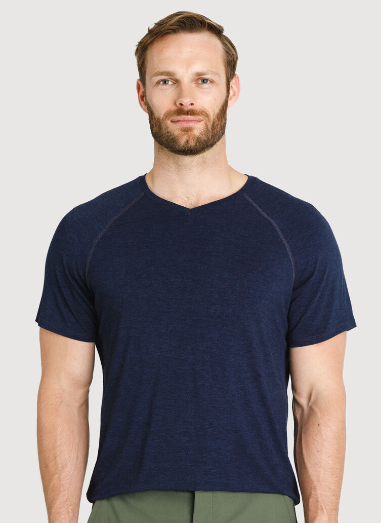 Ace Tech Jersey V Tee Relaxed Fit, HTHR DK Navy | Kit and Ace