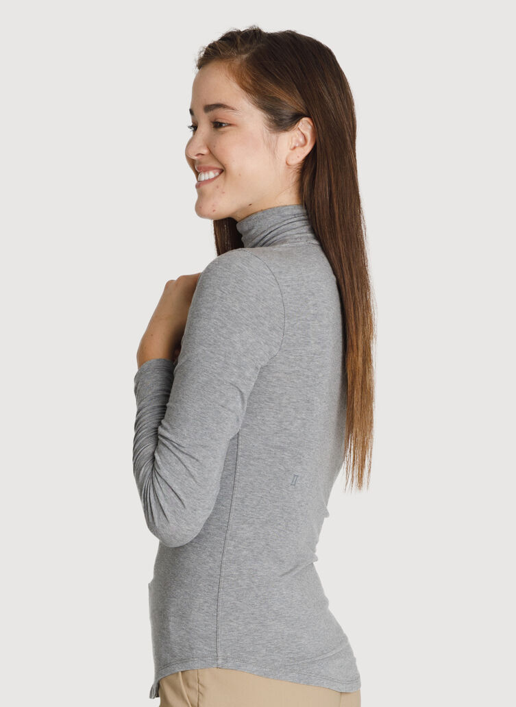 Rib Turtleneck Long Sleeve, HTHR GREY | Kit and Ace