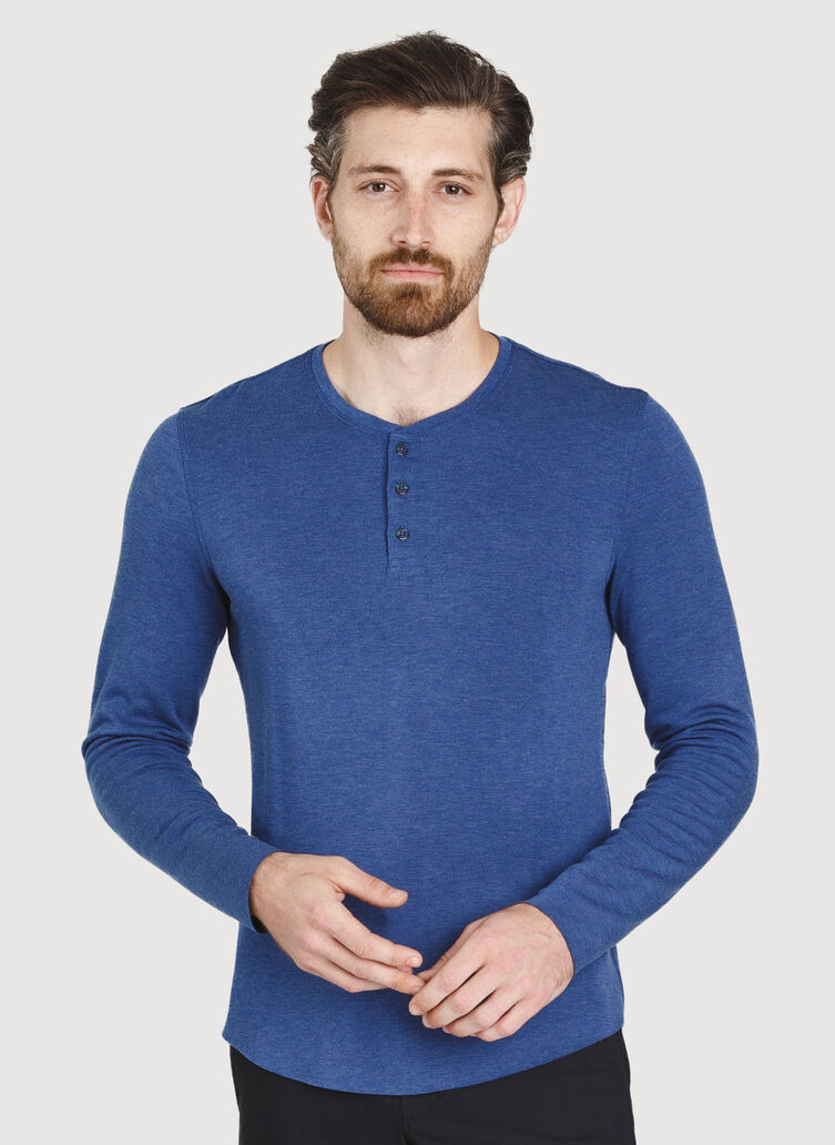 The B.F.T. Long Sleeve Henley Tee, Heather Blue Indigo | Kit and Ace