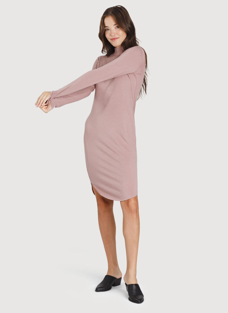 Good Feels Mock Neck Dress, Heather Fawn | Kit and Ace