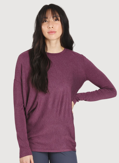 Wave Long Sleeve Tee, Heather Dark Plum | Kit and Ace