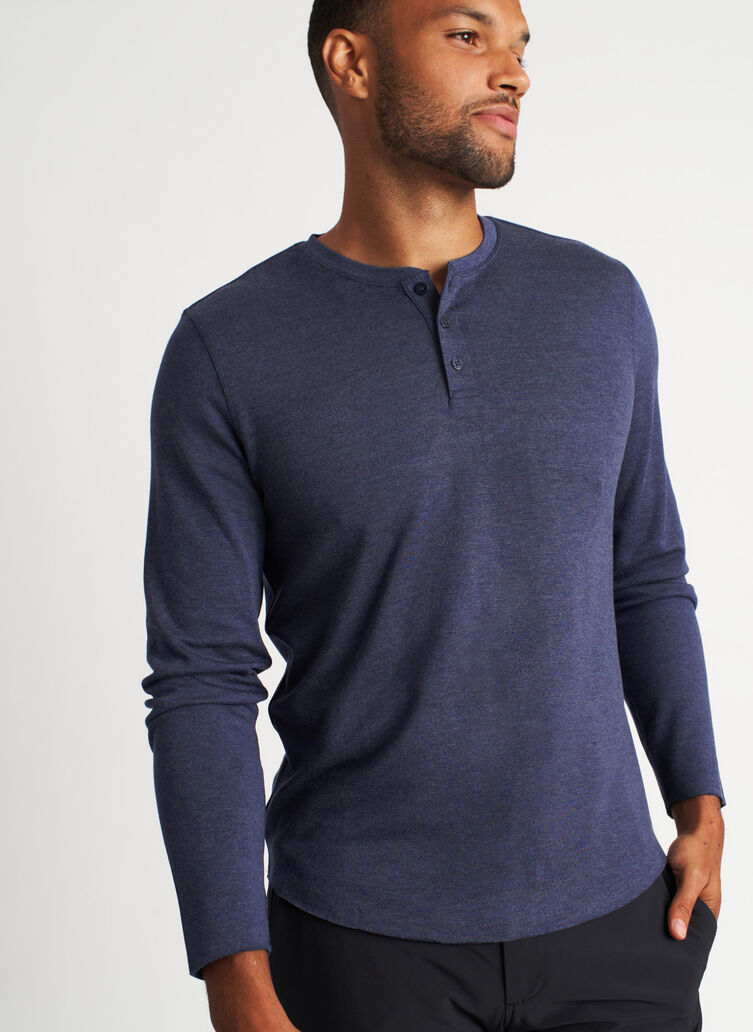 The B.F.T. Long Sleeve Henley Tee, Heather Dark Navy | Kit and Ace