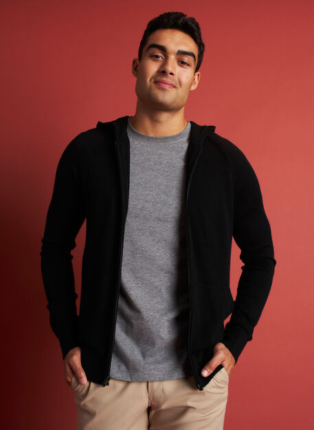 A to B Merino Hoodie, Black | Kit and Ace