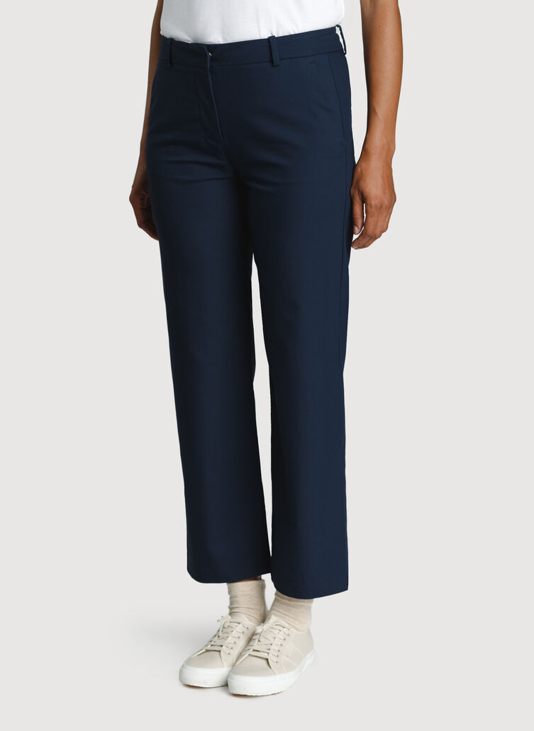 Wide Leg Ankle Pants, Dark Navy | Kit and Ace