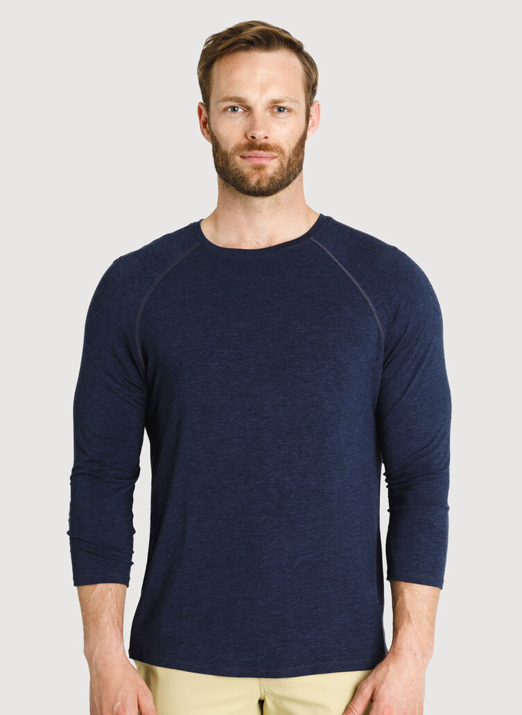 Ace Tech Jersey Baseball Tee, HTHR DK Navy | Kit and Ace