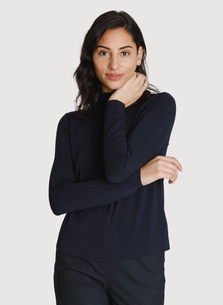 Brushed Mock Neck Long Sleeve Tee, DK Navy | Kit and Ace