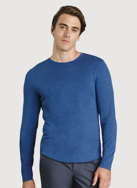 The B.F.T. Long Sleeve Crew, HTHR Blue Indigo | Kit and Ace
