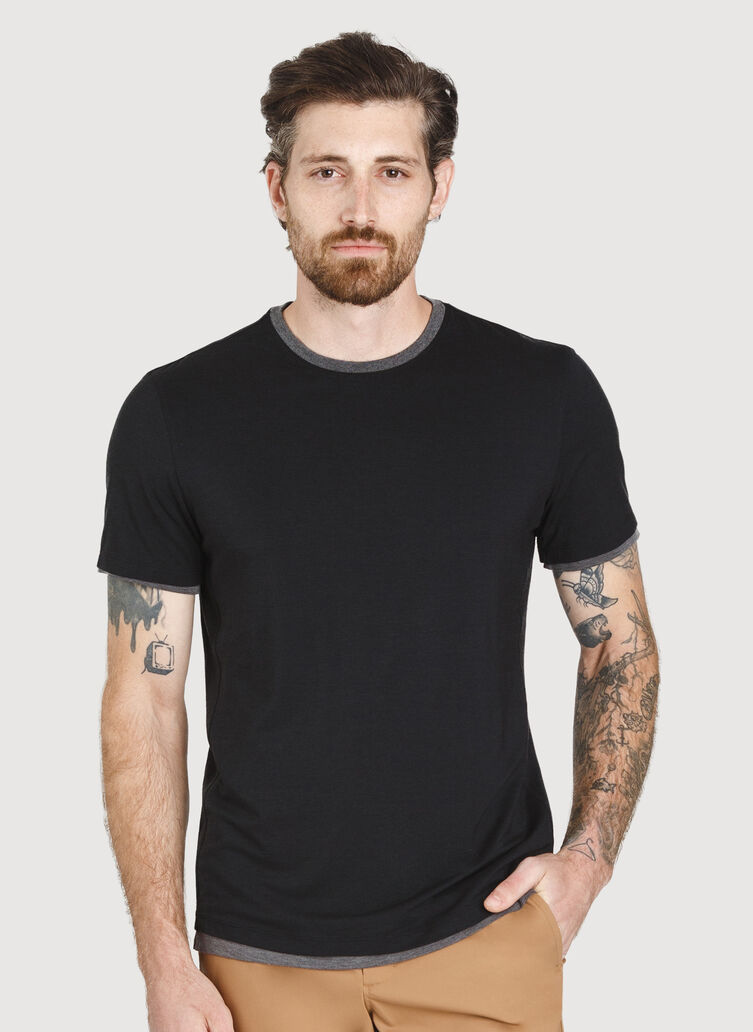 Ace Reversible Short Sleeve Tee, BLACK/HTHR CHARCOAL | Kit and Ace