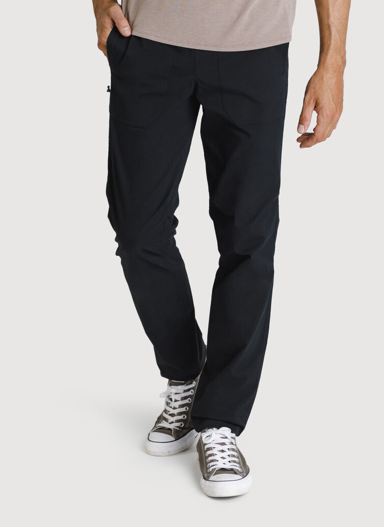 Stretch Cotton Pull-On Pants, Black | Kit and Ace