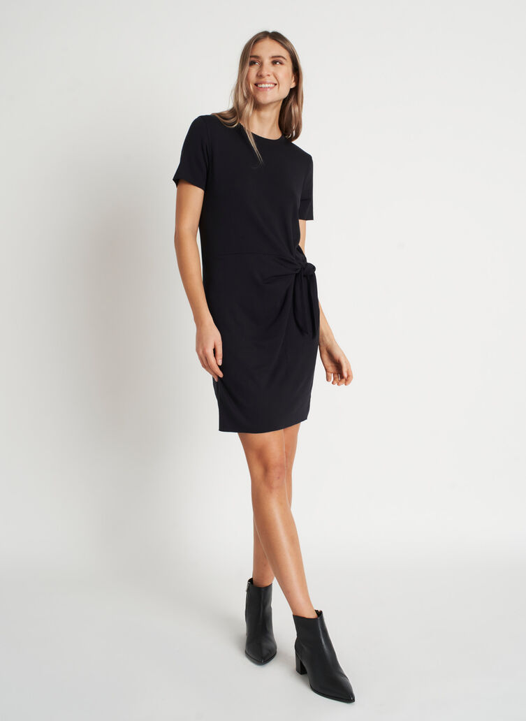 Brushed Tie Dress, Black | Kit and Ace