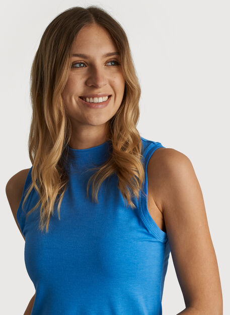 Kit Tech Jersey Mock Neck Tank Slim Fit, Heather Sail Blue | Kit and Ace