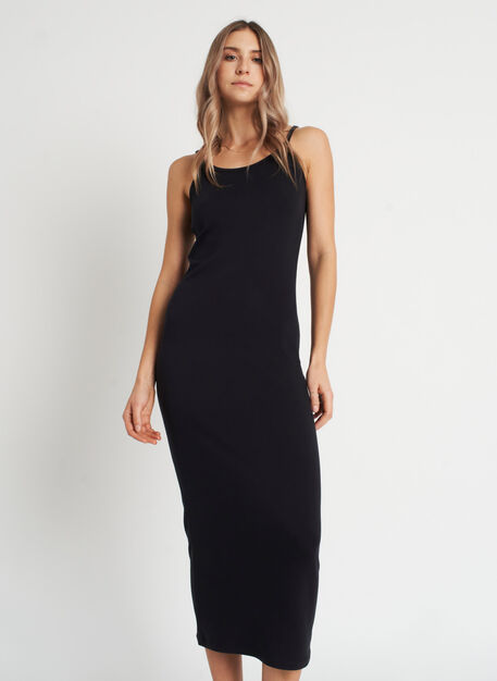 Brushed Midi Dress, Black | Kit and Ace