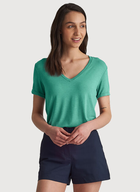 Kit Tech Jersey V Tee Relaxed Fit, HTHR Seafoam | Kit and Ace
