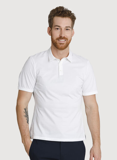Court Stretch Polo, Bright White | Kit and Ace