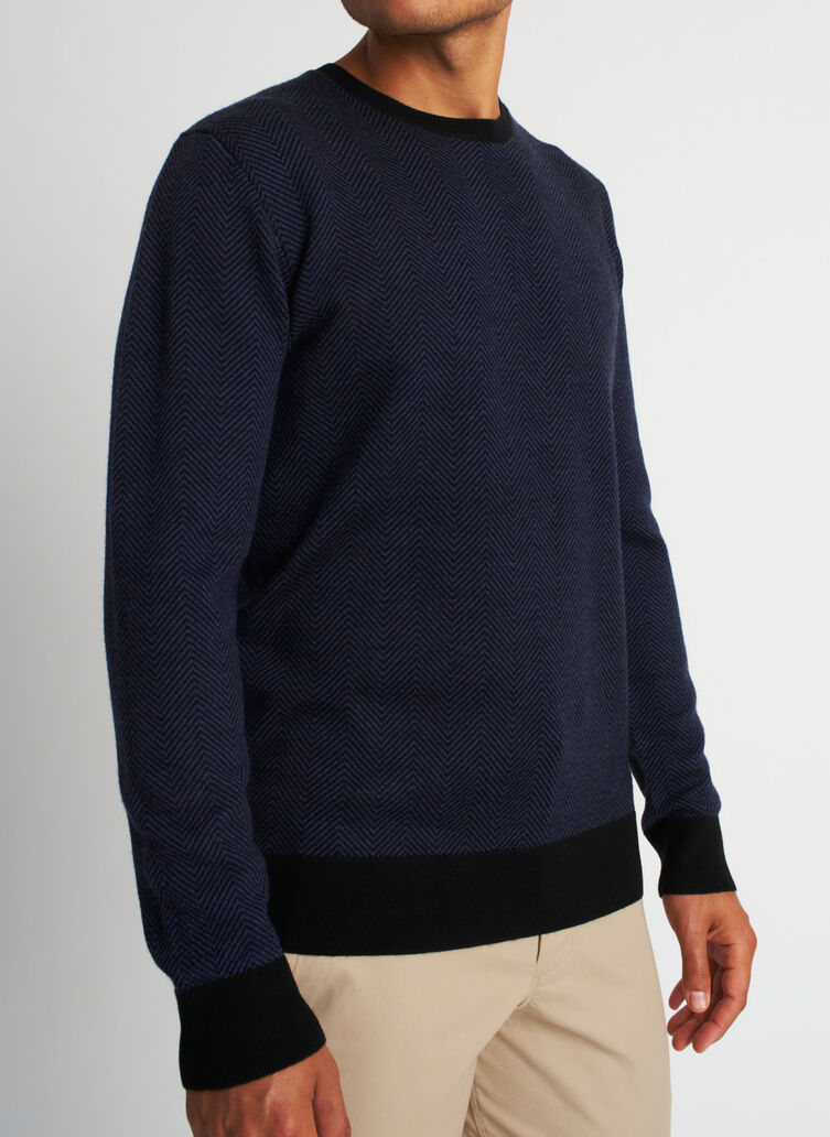 All Day Merino Sweater, Black/Heather Dark Navy | Kit and Ace