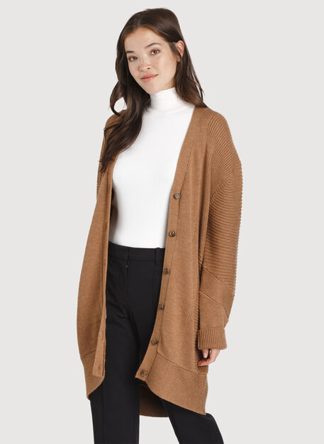 Ash Long Cardigan, HTHR Toffee | Kit and Ace
