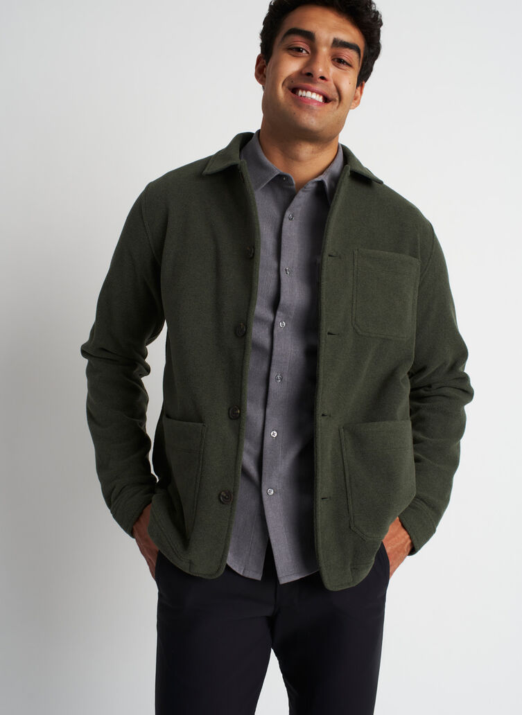 Snug Fleece Shirt Jacket, Deep Forest/Black | Kit and Ace