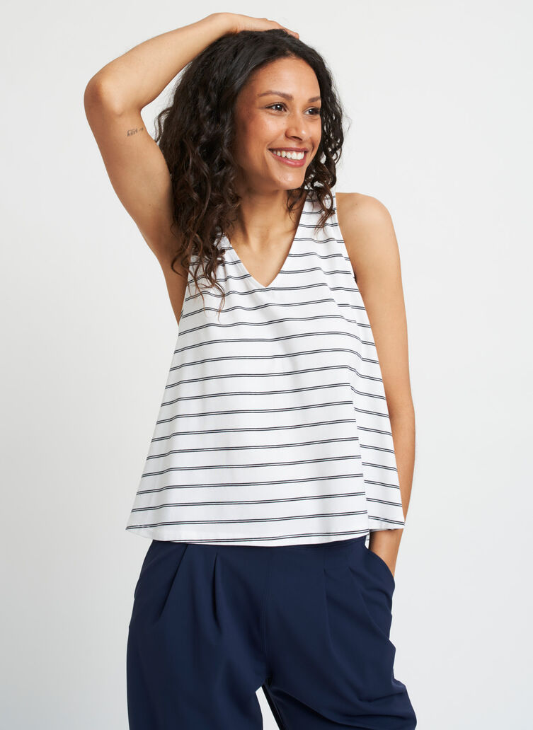 Lovely Tank, White Duo Black Stripe | Kit and Ace