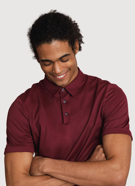 Court Stretch Polo, Merlot | Kit and Ace