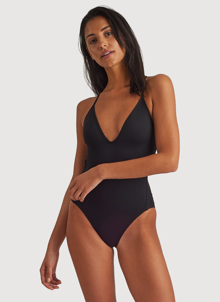 Tie Back Swim One Piece, BLACK | Kit and Ace