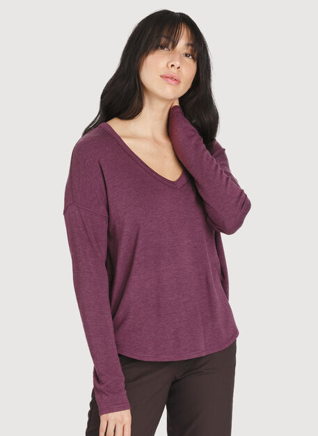 Easy Long Sleeve, HTHR Dark Plum | Kit and Ace