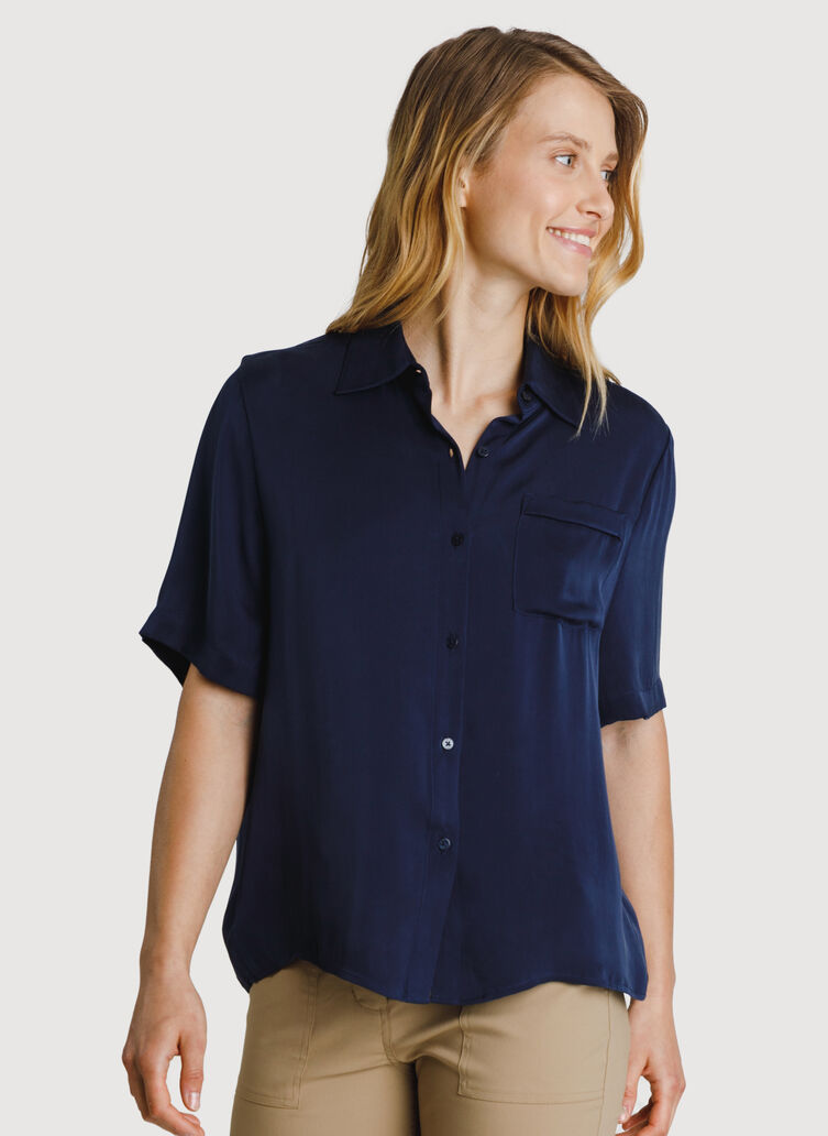 Bike to Office Silk Blouse, DK Navy | Kit and Ace