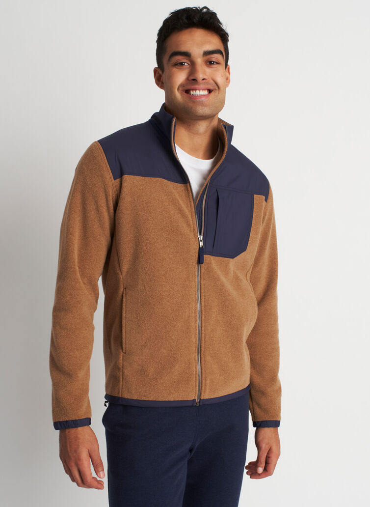 Snug Fleece Zip Up, Toffee/Dark Navy | Kit and Ace