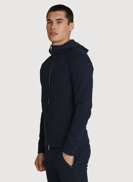 Terry Full Zip Hoodie, DK Navy | Kit and Ace