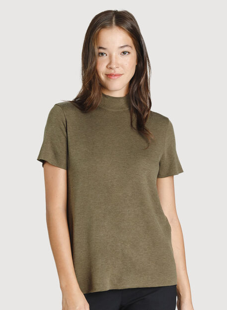 Good Feels Mock Neck Tee, HTHR Moss | Kit and Ace