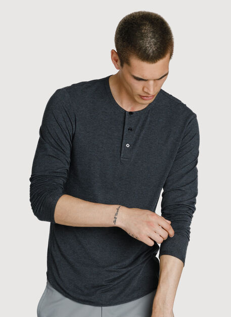 Cali Long Sleeve Henley, HTHR Charcoal | Kit and Ace