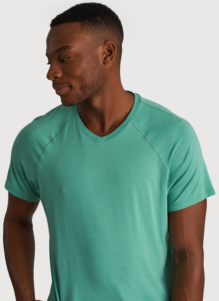 Ace Tech Jersey V-Neck Tee Relaxed Fit, Heather Seafoam | Kit and Ace