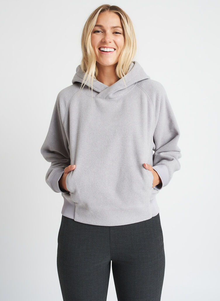 Hygge Fleece Pullover Hoodie, Heather Smoke | Kit and Ace
