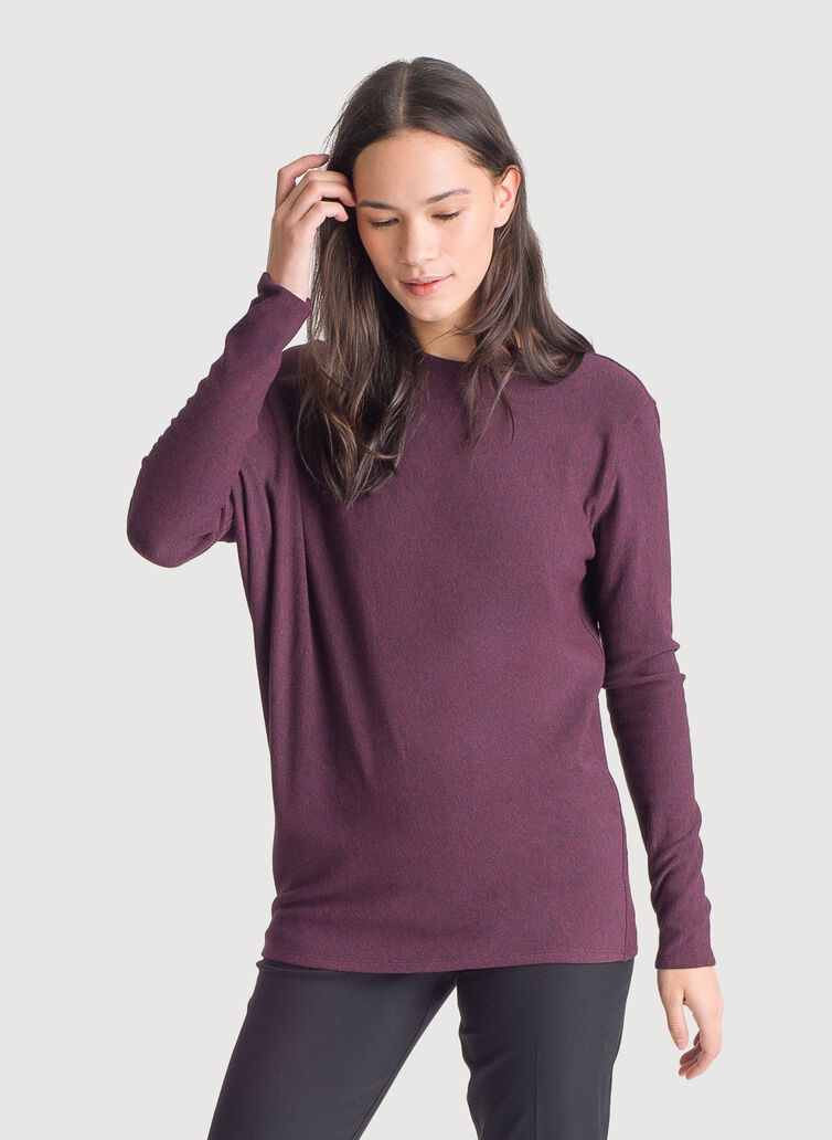 Wave Long Sleeve Tee *Brushed, HTHR Mulled Wine | Kit and Ace