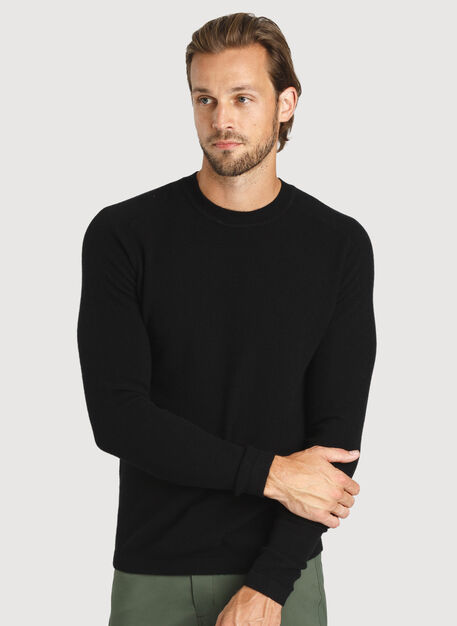 Cashmere Crew Sweater, Ebony | Kit and Ace