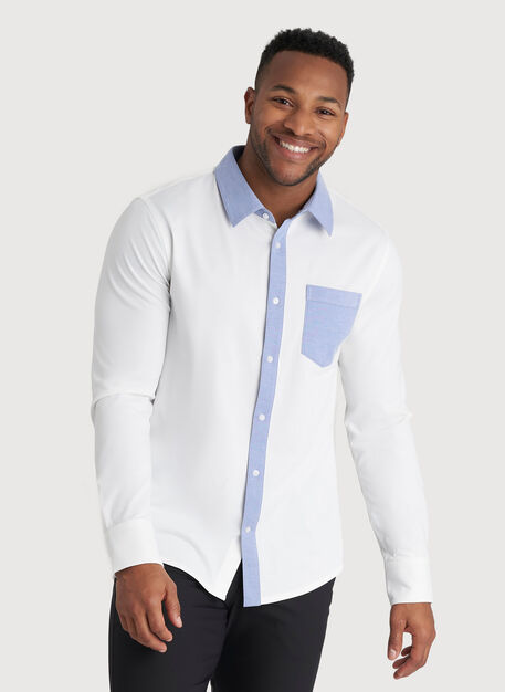 City Tech Classic Shirt, Bright White/Ocean Chambray | Kit and Ace
