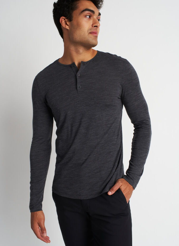 Merino Henley Tee, Heather Charcoal | Kit and Ace