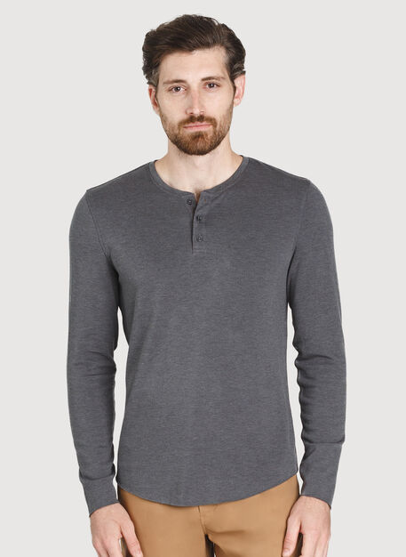 The B.F.T. Long Sleeve Henley, HTHR Charcoal | Kit and Ace